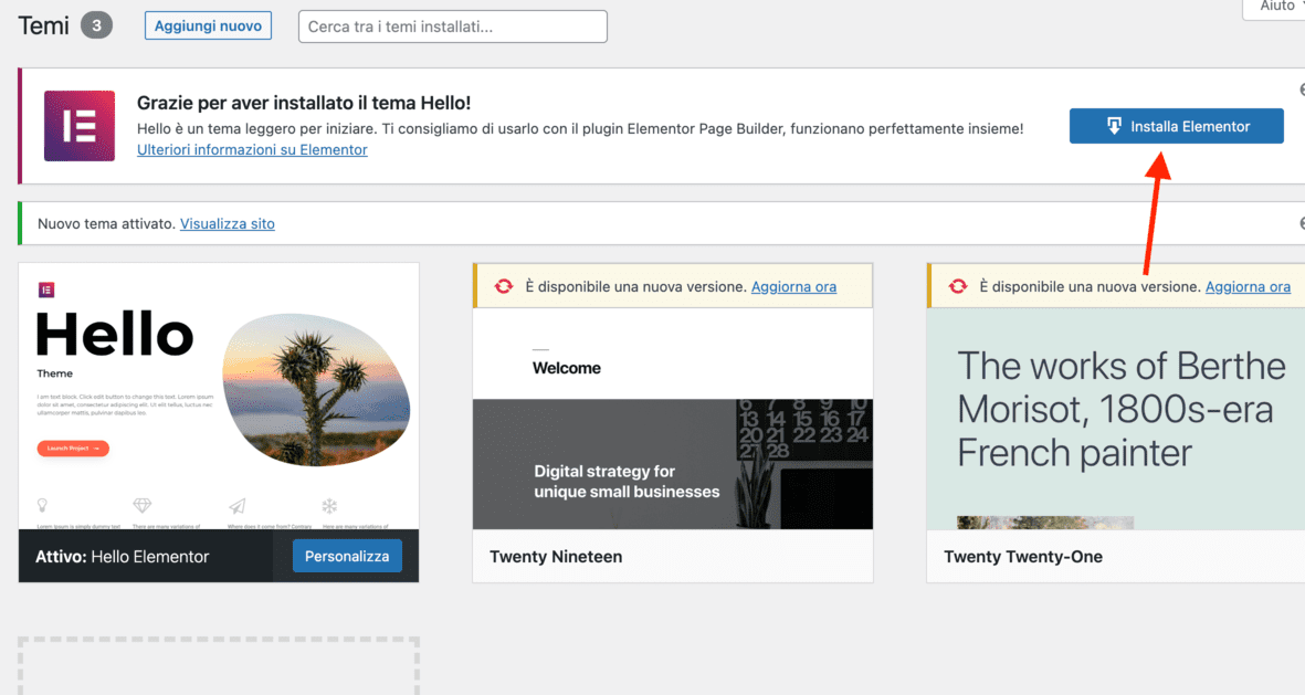 Passi per aprire un blog - installare elementor
