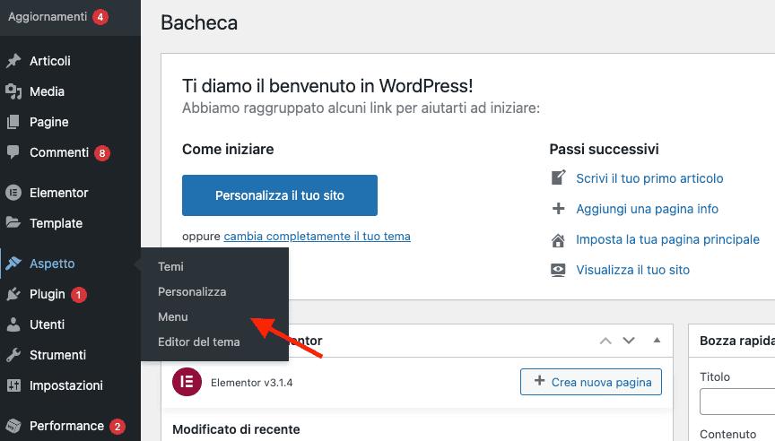 accedere alla sezione menu di wordpress