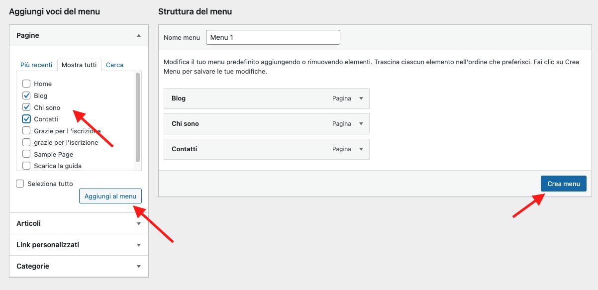 creare il menu principale del tuo sito wordpress