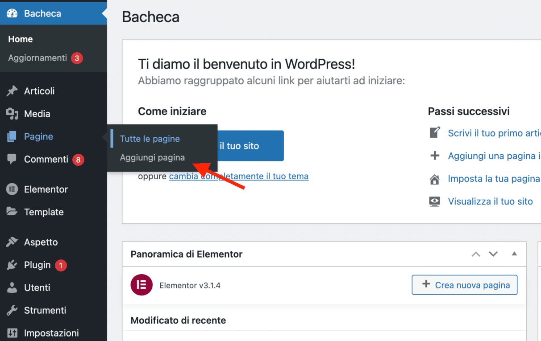 creare una pagina sul tuo blog con wordpress