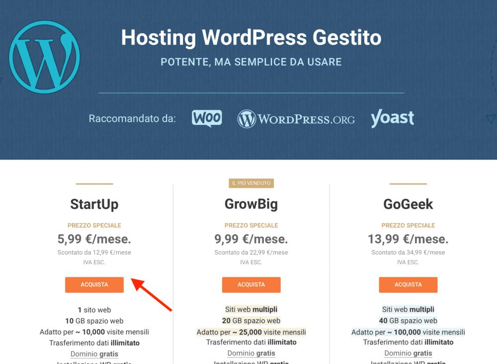 iscriverti a un hosting per creare un blog