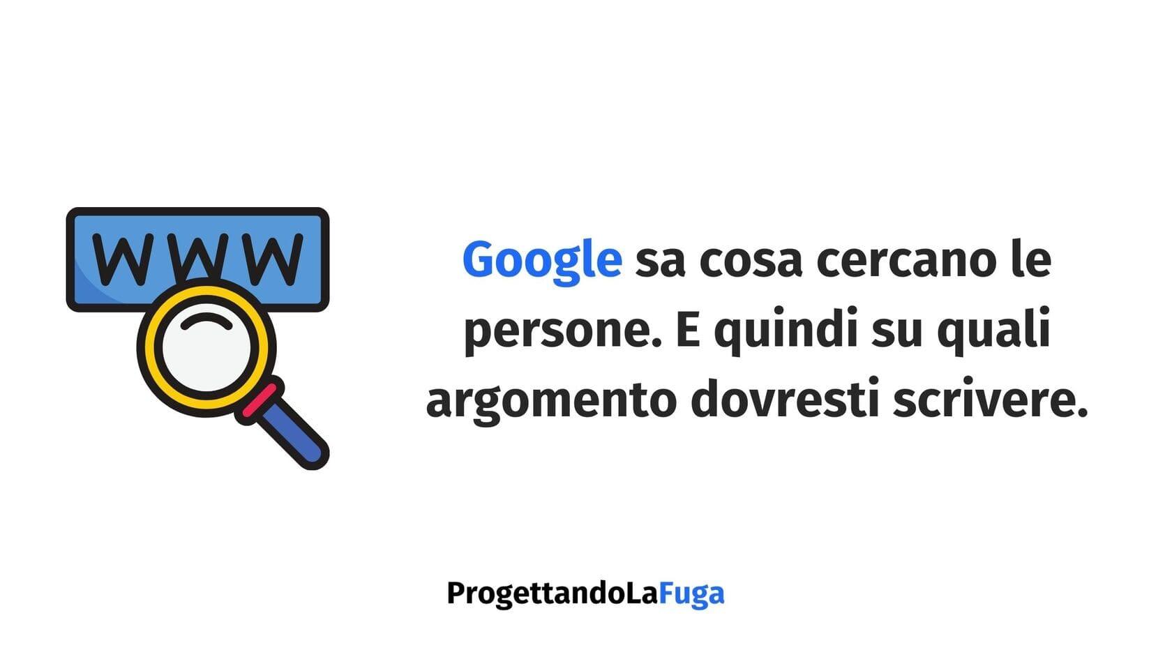suggerimenti di Google per trovare idee per gli articoli del blog