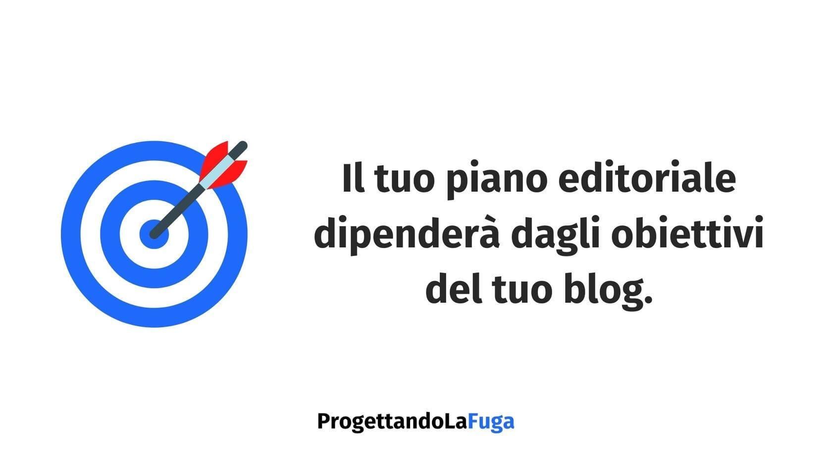 piano editoriale per blog e obiettivi